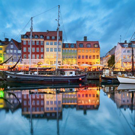 Nyhavn in Copenhagen, Denmark at night; Shutterstock ID 258618815